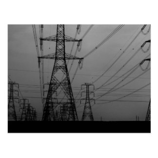 Darkness - B W power lines Post Cards