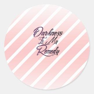 Darkness is My Remedy (Striped) Classic Round Sticker