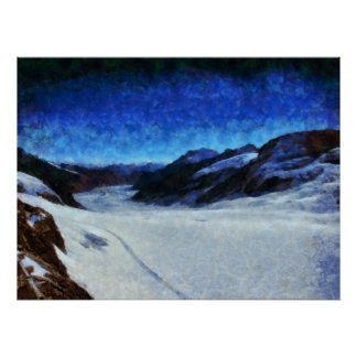 Darkness starting to descend onto a glacier poster