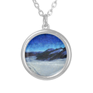 Darkness starting to descend onto a glacier round pendant necklace