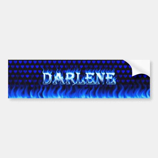 Darlene blue fire and flames bumper sticker design car bumper sticker
