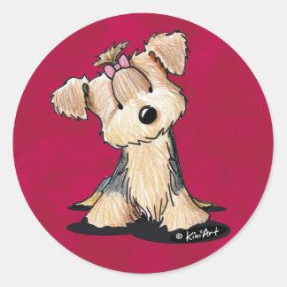 Darlin puede Yorkie Terrier Etiqueta Redonda