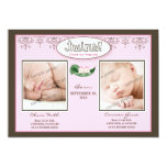 Darling 5x7 Twin GIRLS Birth Announcement (pink)