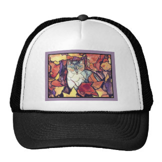 "Darling Autumn Leaves Kitty Cat ""stained glass"" Trucker Hat"