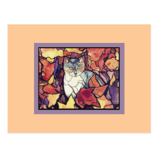 """Darling Autumn Leaves Kitty Cat """"stained glass"""" Postcard"""