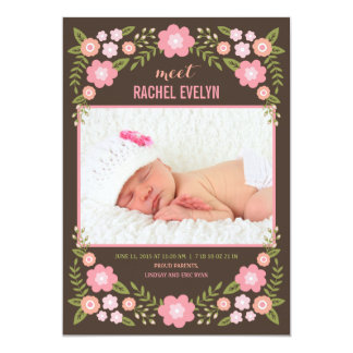Darling Blooms Birth Announcement - Brown