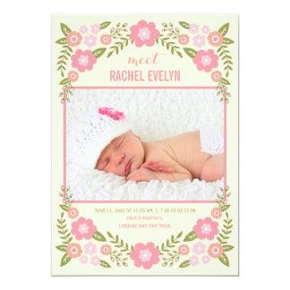 Darling Blooms Birth Announcement - Cream