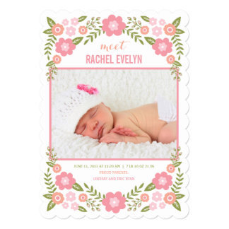 Darling Blooms Birth Announcement - White