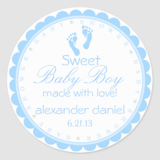 Darling Blue Footprints Baby Shower Classic Round Sticker