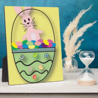 Darling Cartoon Easter Bunny with Basket Photo Plaque
