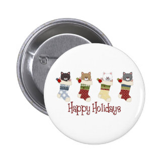 Darling Christmas Cat Stockings Buttons