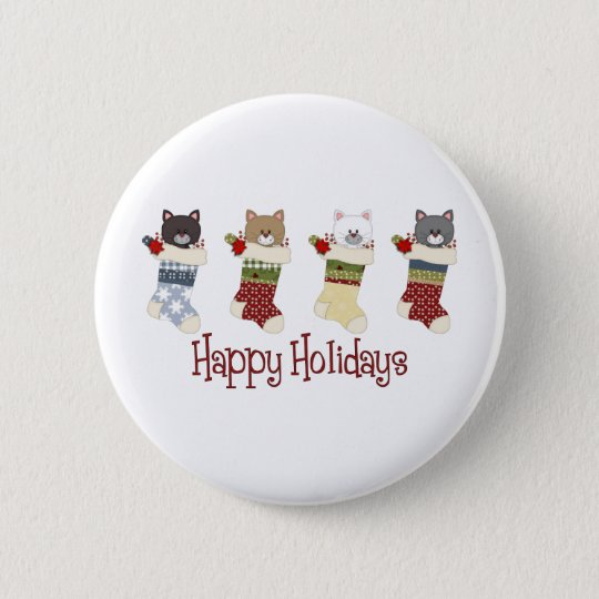 Darling Christmas Cat Stockings Pinback Button