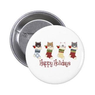 Darling Christmas Cat Stockings Pinback Button