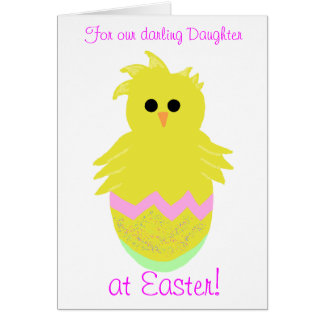 Darling Daughter Pink Baby Chick Greeting Card Greeting Card