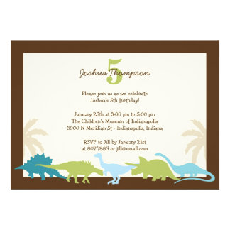 Darling Dinosaurs Birthday Party Invitation Custom Announcements