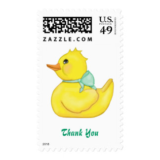 Darling Ducky Green Ribbon Thank You Stamps