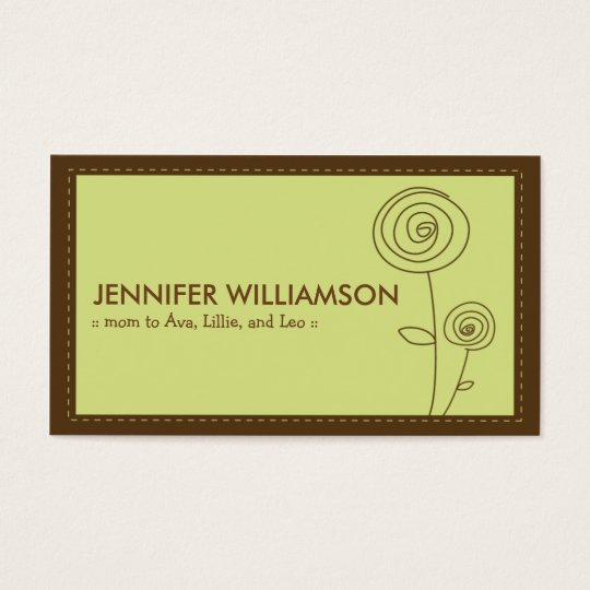 Darling Flower Mommy Calling Card (lime)