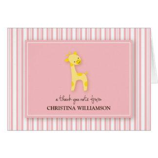 Darling Giraffe Kids Thank-You Card (pink)