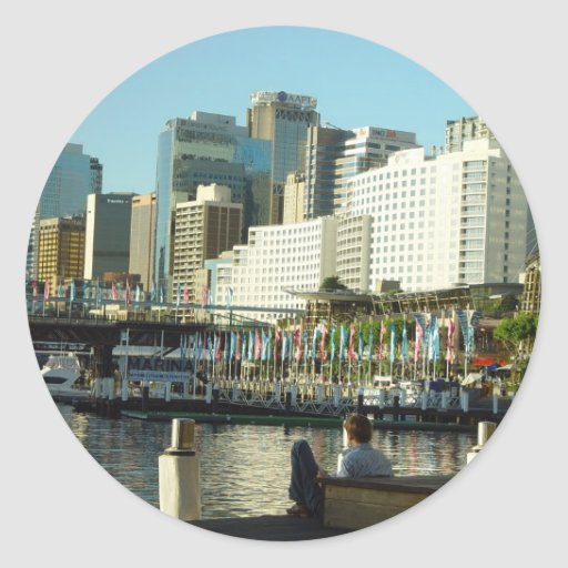 Darling Harbour In Sydney At New South Wales Classic Round Sticker
