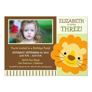 Darling Lion Girls Birthday Party Invite (sage)