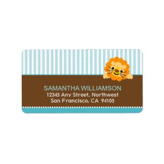 Darling Lion Return Address Labels (aqua)