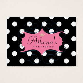 Darling Pink Frame On Black and White Polka Dots Business Card