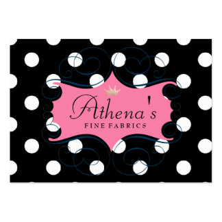 Darling Pink Frame On Black and White Polka Dots Business Card Template