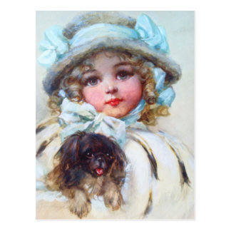 Darling portrait of a little girl and her dog postcard
