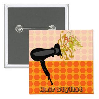 Darling Retro Hair Stylist Salons Pinback Button