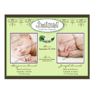 Darling Twin Boys Lime Birth/Baby Announcement Post Card