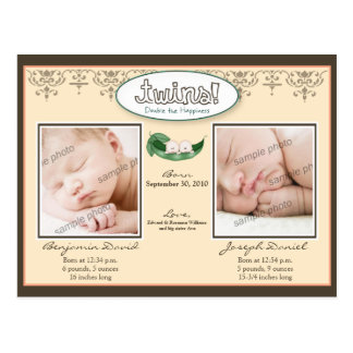 Darling Twin Boys Peach Birth/Baby Announcement Post Cards