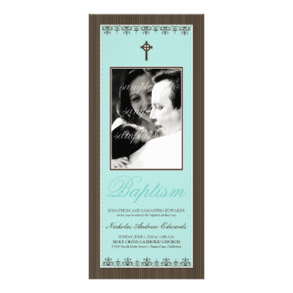 Darling Victorian 4x9 25 Aqua Baptism Invitation
