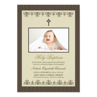 "Darling Victorian 5x7"" Taupe Baptism Invitation"