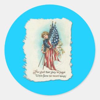 Darling Vintage Americana Design Classic Round Sticker