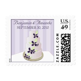 Darling Wedding Cake Invitation Postage :: purple