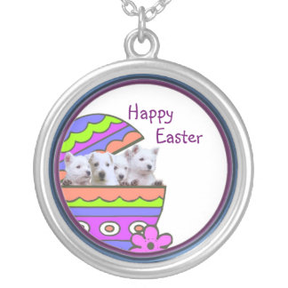 Darling Westie Happy Easter Wishes Necklace