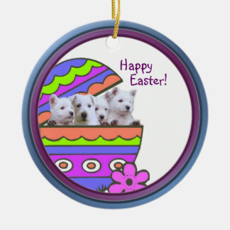 Darling Westie Happy Easter Wishes Ornament