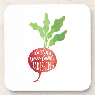 Darling, You Look Radishing | food pun Drink Coaster