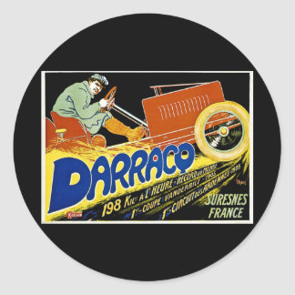 Darraco Vintage Race Car - Suresnes France Classic Round Sticker