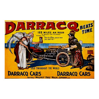 Darracq Beats Time - 122 Miles an Hour - Vintage Poster