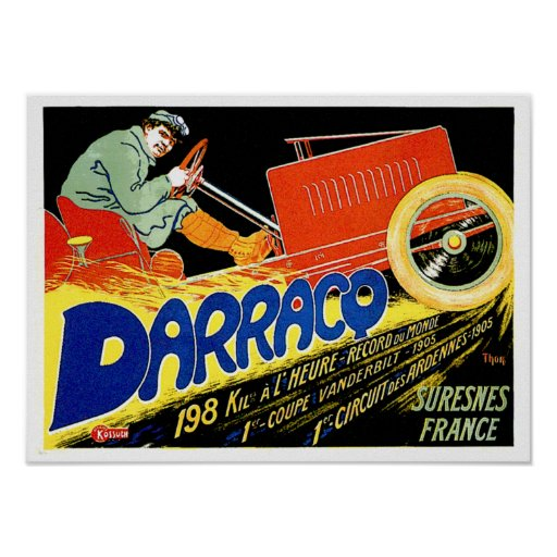 Darracq ~ Vintage French Motor Car Ad Poster