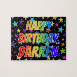 "[ Thumbnail: ""Darren"" First Name, Fun ""Happy Birthday"" Jigsaw Puzzle ]"