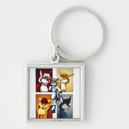 Darrik - Fox of Many Colors Silver-Colored Square Keychain