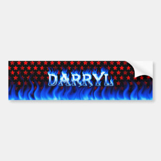 Darryl blue fire and flames bumper sticker design. car bumper sticker