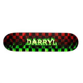 Darryl skateboard green fire and flames design.