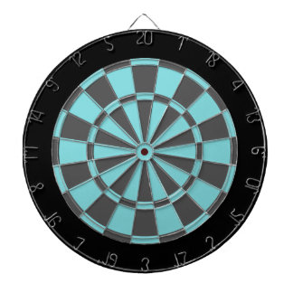 Dart Board: Aqua, Charcoal Gray, And Black Dartboard With Darts