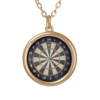 Dart_Board_Bulls_Eye, _Golden_Pendant_Necklace. Collar Dorado