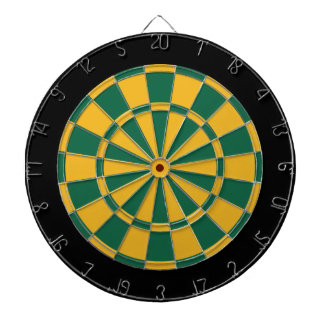 Dart Board: Gold, Dark Green, And Black Dartboard With Darts