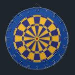 "Dart Board: Gold, Navy, And Blue Dartboard<br><div class=""desc"">Gold,  Navy,  And Blue Colored Dart Board Game Including 6 Brass Darts</div>"