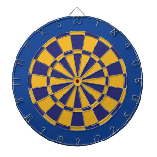 Dart Board: Gold, Navy, And Blue Dartboard